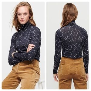 NWT J. Crew Tissue Turtleneck polka dot